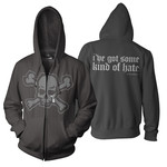 Black Skull Zip Up Hoodie