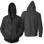 Black Crest Zip Up Hoodie