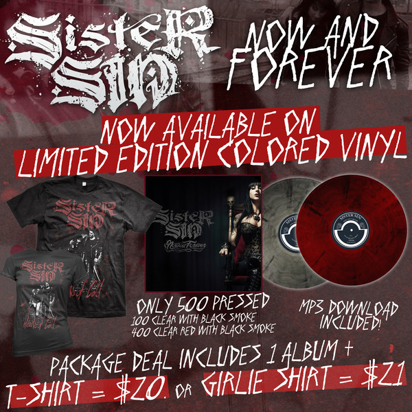 Sister Sin - Now And Forever Vinyl and Shirt